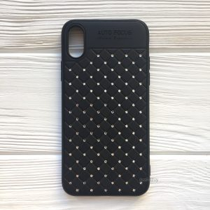 Черный силиконовый плетеный (TPU+PC) чехол со стразами Diamond для Iphone XR (Black)