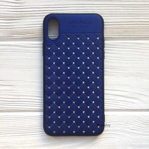 Синий силиконовый плетеный (TPU+PC) чехол со стразами Diamond для Iphone X / XS (Blue)