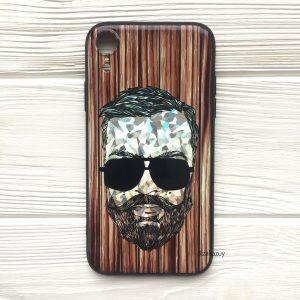 Чехол BARBER в очках (темный) под дерево для Iphone XR