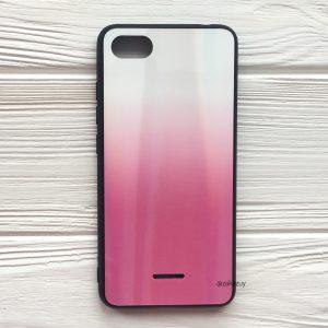 TPU+Glass чехол Gradient Aurora с градиентом для Xiaomi Redmi 6A (White/Pink)