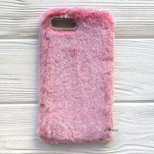 """Розовый силиконовый чехол (накладка) """"Пушистик"""" с мехом и стразами для Iphone 7 Plus / 8 Plus (Pink)"""