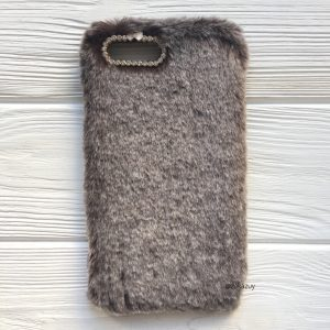 """Коричневый силиконовый чехол (накладка) """"Пушистик"""" с мехом и стразами для Iphone 7 Plus / 8 Plus (Brown)"""