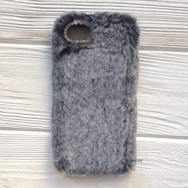 """Серый силиконовый чехол (накладка) """"Пушистик"""" с мехом и стразами для Iphone 7 / 8 (Grey)"""