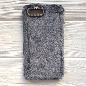 """Серый силиконовый чехол (накладка) """"Пушистик"""" с мехом и стразами для Iphone 7 Plus / 8 Plus (Grey)"""