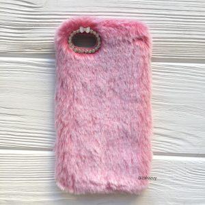 """Розовый силиконовый чехол (накладка) """"Пушистик"""" с мехом и стразами для Iphone 7 / 8 (Pink)"""