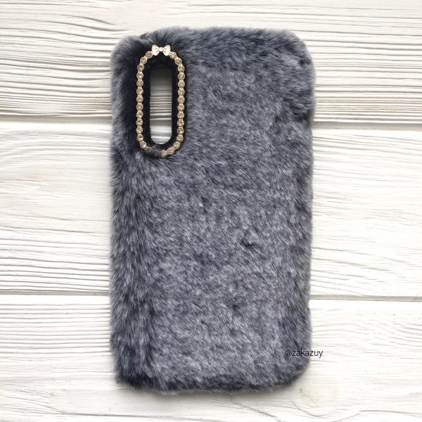 """Серый силиконовый чехол (накладка) """"Пушистик"""" с мехом и стразами для Samsung A750 Galaxy A7 2018 (Grey)"""