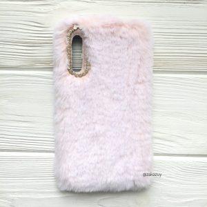 """Силиконовый чехол (накладка) """"Пушистик"""" с мехом и стразами для Samsung A750 Galaxy A7 2018 (Light Pink)"""