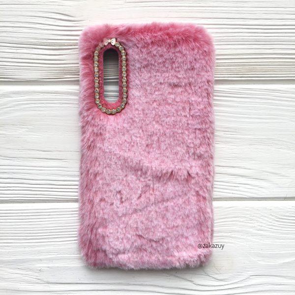 """Розовый силиконовый чехол (накладка) """"Пушистик"""" с мехом и стразами для Samsung A750 Galaxy A7 2018 (Pink)"""