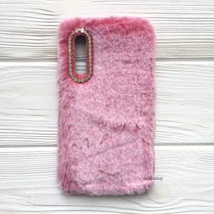 """Силиконовый чехол (накладка) """"Пушистик"""" с мехом и стразами для Samsung A750 Galaxy A7 2018 (Pink)"""