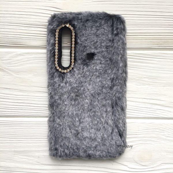 Серый силиконовый чехол (накладка) «Пушистик» с мехом и стразами для Samsung A920 Galaxy A9 2018 (Grey)
