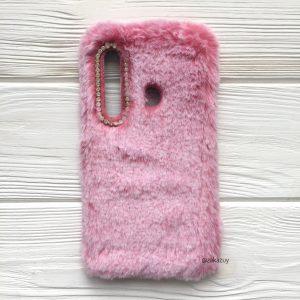 """Розовый силиконовый чехол (накладка) """"Пушистик"""" с мехом и стразами для Samsung A920 Galaxy A9 2018 (Pink)"""