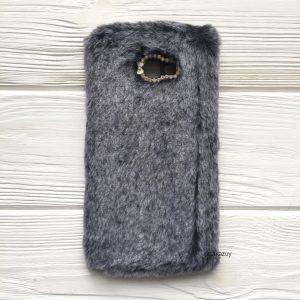 """Серый силиконовый чехол (накладка) """"Пушистик"""" с мехом и стразами для Samsung J415 Galaxy J4 Plus 2018 (Grey)"""