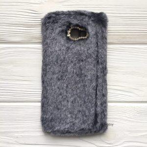 """Силиконовый чехол (накладка) """"Пушистик"""" с мехом и стразами для Samsung J415 Galaxy J4 Plus 2018 (Grey)"""