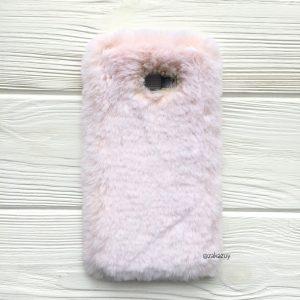 """Светло-розовый силиконовый чехол (накладка) """"Пушистик"""" с мехом и стразами для Samsung J415 Galaxy J4 Plus 2018 (Light Pink)"""