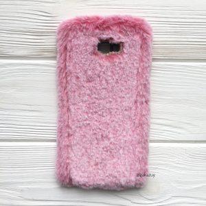 """Розовый силиконовый чехол (накладка) """"Пушистик"""" с мехом и стразами для Samsung J415 Galaxy J4 Plus 2018 (Pink)"""
