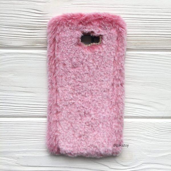 """Силиконовый чехол (накладка) """"Пушистик"""" с мехом и стразами для Samsung J415 Galaxy J4 Plus 2018 (Pink)"""