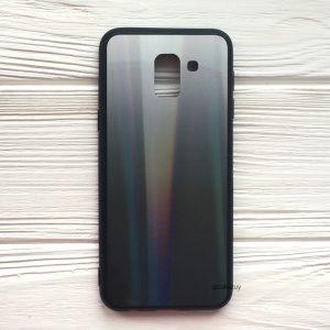 Черный чехол (накладка) с градиентом для Samsung J600 Galaxy J6 2018 (White/Black)