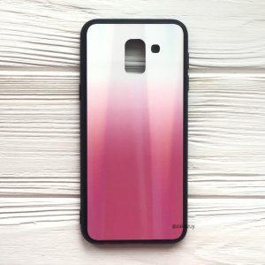 Бело-розовый чехол (накладка) с градиентом для Samsung J600 Galaxy J6 2018 (White/Pink)