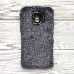 """Серый силиконовый чехол (накладка) """"Пушистик"""" с мехом и стразами для Samsung J610 Galaxy J6 Plus 2018 (Grey)"""