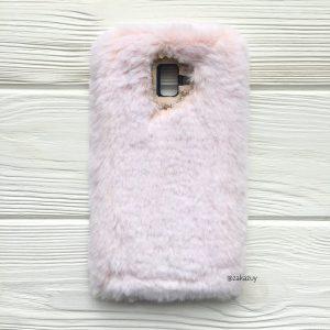 """Силиконовый чехол """"Пушистик"""" с мехом и стразами для Samsung Galaxy J6 Plus 2018 (J610) (Light Pink)"""