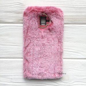 """Розовый силиконовый чехол (накладка) """"Пушистик"""" с мехом и стразами для Samsung J610 Galaxy J6 Plus 2018 (Pink)"""
