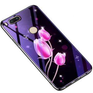 TPU+Glass чехол Fantasy с глянцевыми торцами  для Xiaomi Mi 8 Lite / Mi 8 Youth (Mi 8X) (Tulip)
