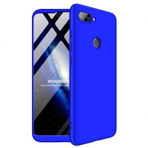 Синий матовый пластиковый чехол (бампер) GKK 360 градусов для Xiaomi Mi 8 Lite / Mi 8 Youth (Mi 8x) (Blue)