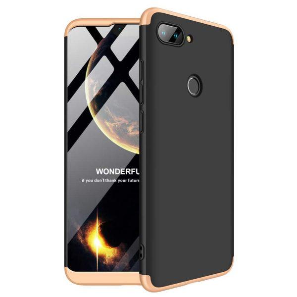 Черно-золотой матовый пластиковый чехол (бампер) GKK 360 градусов для Xiaomi Mi 8 Lite / Mi 8 Youth (Mi 8x) (Black / Gold)