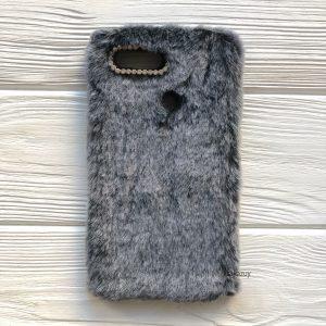 """Серый силиконовый чехол (накладка) """"Пушистик"""" с мехом и стразами для Xiaomi Mi 8 Lite / Mi 8 Youth (Mi 8X) (Grey)"""