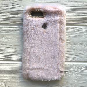 """Силиконовый чехол (накладка) """"Пушистик"""" с мехом и стразами для Xiaomi Mi 8 Lite / Mi 8 Youth (Mi 8X) (Light Pink)"""