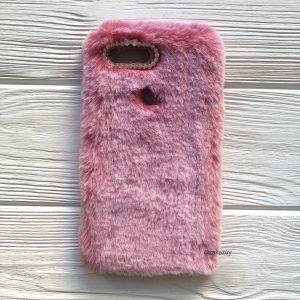 """Pозовый силиконовый чехол (накладка) """"Пушистик"""" с мехом и стразами для Xiaomi Mi 8 Lite / Mi 8 Youth (Mi 8X) (Pink)"""