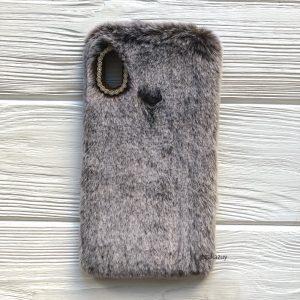 """Коричневый силиконовый чехол (накладка) """"Пушистик"""" с мехом и стразами для Huawei P Smart Plus / Nova 3i (Brown)"""
