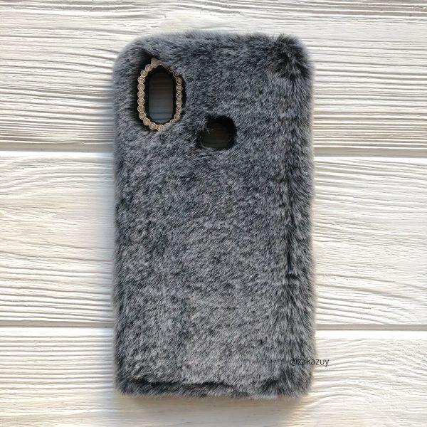 Серый силиконовый чехол (накладка) «Пушистик» с мехом и стразами для Xiaomi Redmi Note 6 Pro (Grey)