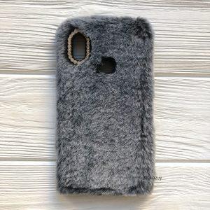 """Силиконовый чехол (накладка) """"Пушистик"""" с мехом и стразами для Xiaomi Redmi Note 5 / 5 Pro (Grey)"""