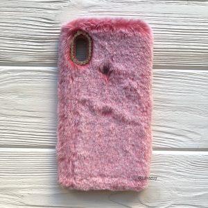 """Pозовый силиконовый чехол (накладка) """"Пушистик"""" с мехом и стразами для Xiaomi Redmi Note 6 Pro (Pink)"""