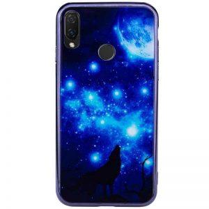 TPU+Glass чехол (накладка) Fantasy с глянцевыми торцами для Huawei P Smart (2019) / Honor 10 Lite (Moon night)