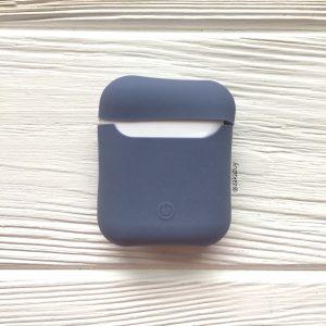 Голубой матовый силиконовый чехол Soft Touch для Apple Airpods (Blue)