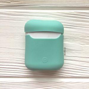 Мятный матовый силиконовый чехол Soft Touch для Apple Airpods (Mint)