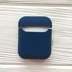 Темно-синий матовый силиконовый чехол Soft Touch для Apple Airpods (Dark Blue)