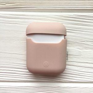 Светло-розовый (пудровый) матовый силиконовый чехол Soft Touch для Apple Airpods (Powder)