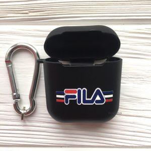 Черный матовый силиконовый чехол Soft Touch FILA для Apple Airpods (Black)