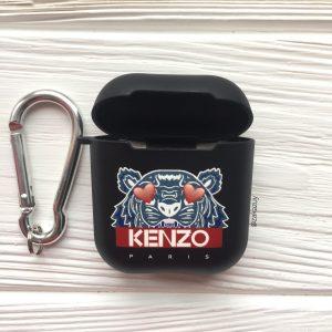 Черный матовый силиконовый чехол Soft Touch KENZO для Apple Airpods (Black)
