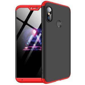 Черно-красный матовый пластиковый чехол (бампер) GKK 360 градусов для Xiaomi Mi A2 Lite / Redmi 6 Pro (Black / Red)