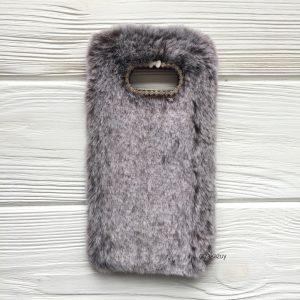 """Коричневый силиконовый чехол (накладка) """"Пушистик"""" с мехом и стразами для Samsung G950 Galaxy S8 (Brown)"""