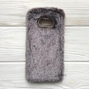 """Коричневый силиконовый чехол (накладка) """"Пушистик"""" с мехом и стразами для Samsung G955 Galaxy S8 Plus (Brown)"""