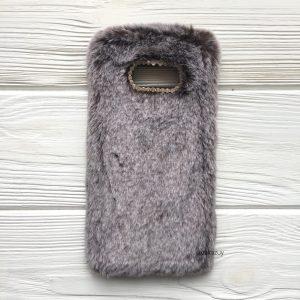 """Силиконовый чехол (накладка) """"Пушистик"""" с мехом и стразами для Samsung G955 Galaxy S8 Plus (Brown)"""
