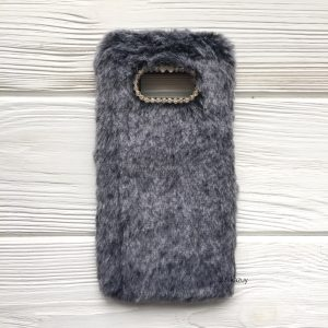 """Серый силиконовый чехол (накладка) """"Пушистик"""" с мехом и стразами для Samsung G950 Galaxy S8 (Grey)"""
