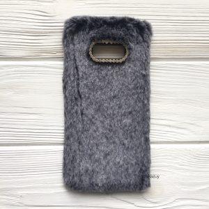 """Силиконовый чехол (накладка) """"Пушистик"""" с мехом и стразами для Samsung G955 Galaxy S8 Plus (Grey)"""