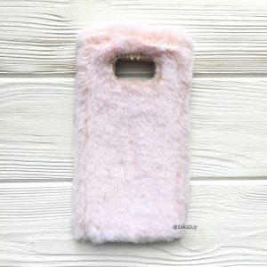 """Силиконовый чехол (накладка) """"Пушистик"""" с мехом и стразами для Samsung G955 Galaxy S8 Plus (Light Pink)"""