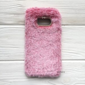 """Розовый силиконовый чехол (накладка) """"Пушистик"""" с мехом и стразами для Samsung G950 Galaxy S8 (Pink)"""